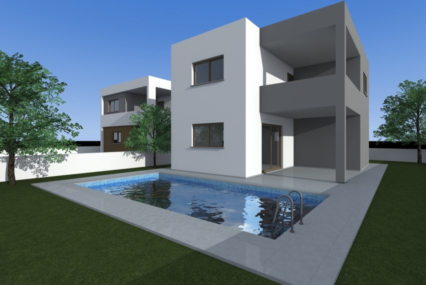 house 1 pool back view